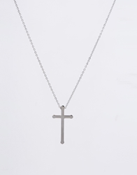 Reclaimed Vintage Cross Necklace In Stainless Steel Silver