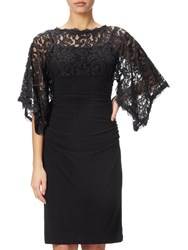 Adrianna Papell Kimono Sleeve Lace And Jersey Combo Dress Black