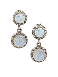 Adornia Moonstone Labradorite And Diamonds Double Drop Earrings Silver
