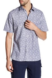 Toscano Printed Regular Fit Short Sleeve Shirt Blue