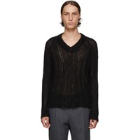 Prada Black Mohair V Neck Sweater