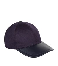 Stefano Ricci Houndstooth Leather Cap Purple