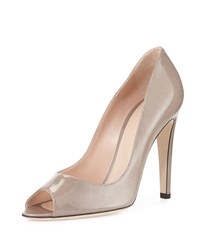 Patent Leather Peep Toe Pump Sergio Rossi Gray