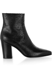 Saint Laurent Snake Effect Leather Ankle Boots Black