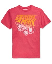 Mighty Fine Men's Iron Man Vintage Fly Graphic Print T Shirt Heather Red
