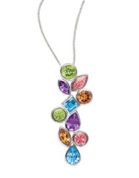 Lord And Taylor Sterling Silver Necklace With Blue Topaz Citrine Amethyst And Peridot Pendant Multi