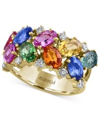 Effy Collection Watercolors By Effy Multi Gemstone 5 1 5 Ct. T.W. And Diamond 1 3 Ct. T.W. Ring In 14K Gold