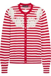 Dolce And Gabbana Lace Trimmed Striped Knitted Silk Cardigan Red