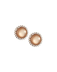 Emily And Ashley Greenbeads By Emily And Ashley Round Moonstone Stud Earrings W Rhinestones