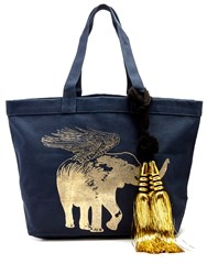 Figue Flying Elephant Print Canvas Tote Navy Gold