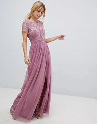 Little Mistress Lace Top Maxi Dress Canyon Rose Pink