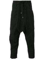 The Viridi Anne Drop Crotch Cropped Trousers Black