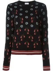 Red Valentino Floral Intarsia Jumper Black