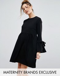 Queen Bee Smock Dress With Bell Sleeve And Tie Detail Black