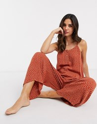 Accessorize Beach Jumpsuit With Button Detail In Rust Polka Dot Orange
