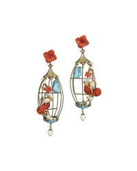 Of Rare Origin Aviary Coral And Turquoise Birdcage Earrings Multi