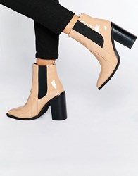 Sol Sana Lori Nude Patent Leather Heeled Ankle Boots Nude Patent Leather Beige