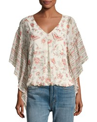 Max Studio Printed Georgette Top Pink White