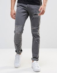 Pull And Bear Pullandbear Jeans In Slim Fit With Rips In Grey Grey