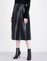 Moandco. Pleated High Rise Faux Leather Skirt Black