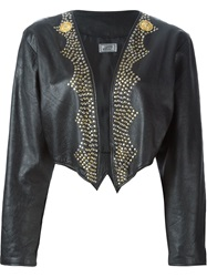 Versace Vintage Studded Cropped Jacket Black