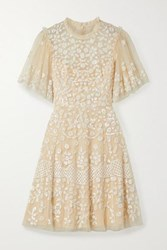 Needle And Thread Honesty Flower Sequined Tulle Mini Dress Pastel Yellow