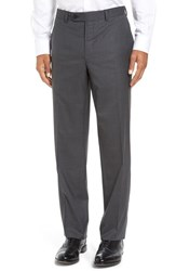 David Donahue Men's Big And Tall 'Ryan' Regular Fit Wool Trousers Charcoal