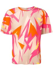 M Missoni Abstract Print T Shirt Women Silk 40 Orange