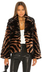 Unreal Fur Madam Purr Jacket In Brown. Black And Tan