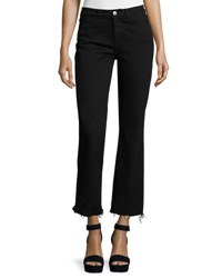 Mih Jeans Lou Flare Leg Cropped Blue Fade Black