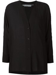 Raquel Allegra Slit Neck Cardigan Black