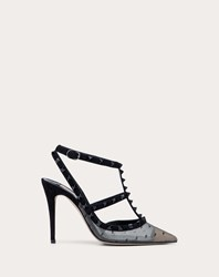 Valentino Garavani Rockstud Lace Pump With Straps 100 Mm Black Viscose 9