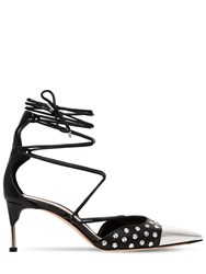 Alexander Mcqueen 65Mm Studded Leather Lace Up Pumps Black Silver