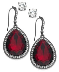 Inc International Concepts Hematite Tone Red Stone And Pave Edge Teardrop And Round Clear Crystal Stud Earring Set