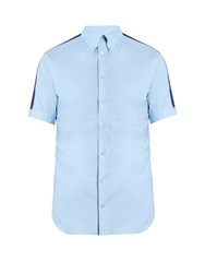 Alexander Mcqueen Contrast Panel Short Sleeved Shirt Light Blue
