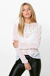 Boohoo Button Back Crochet Blouse White