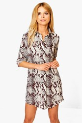 Boohoo Snake Print Shirt Dress Chocolate