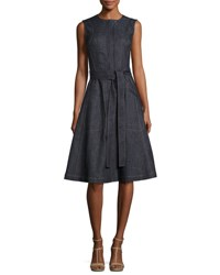 Derek Lam Denim Front Zip Sleeveless Trench Dress Blue