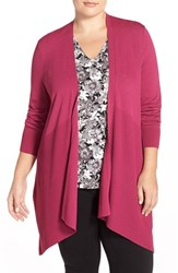Plus Size Women's Sejour Long Crepe Knit Cardigan Purple Fuchsia