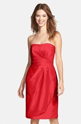 Women's Alfred Sung Wrapped Strapless Satin Dress Poppy