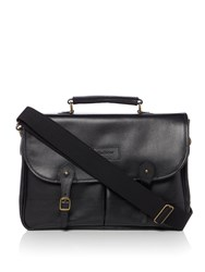 Barbour Leather Briefcase Black