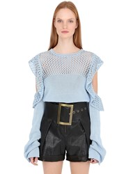 Philosophy Di Lorenzo Serafini Open Shoulder Ruffle Cotton Knit Sweater