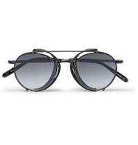 Garrett Leight California Optical Wilson M 49 Round Frame Acetate And Metal Sunglasses With Clip On Leather Shields Black