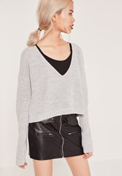 Missguided V Neck Slouchy Crop Jumper New Grey Stone