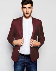 Asos Skinny Blazer In Cotton Burgundy Red