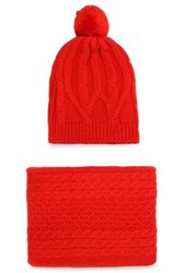 Chinti And Parker Cable Knit Merino Wool Scarf Beanie Set Red