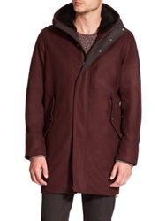 Vince Shearling Lined Collar Wool And Cashmere Blend Parka Dark Red