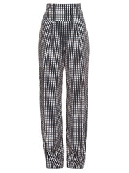 Preen Brito Wide Leg Gingham Trousers Navy Print