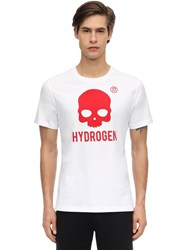 Hydrogen Icon Skull Cotton Jersey T Shirt White