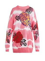 Msgm Floral Intarsia Tie Dye Cotton Sweater Pink
